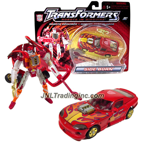 "Hasbro Year 2001 Transformers ""Robots In Disguise"" Series 5 Inch Tall Robot Action Figure - Red Color Speedy Knight Autobot SIDE BURN with Blaster Gun, Bow Missile Launcher and 1 Missiles (Vehicle Mode: Dodge Viper Muscle Car)"