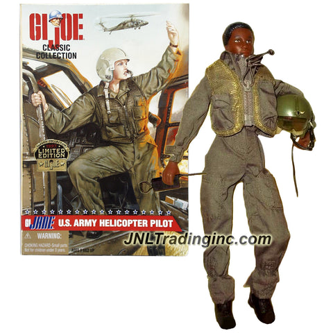 Hasbro Year 1997 GI JOE Classic Collection 12 Inch Tall Soldier Figure - G.I. JANE US ARMY FEMALE HELICOPTER PILOT with Radio, Vest, Pistol, Jump Suit, Flight Helmet and Dog Tags (African American)