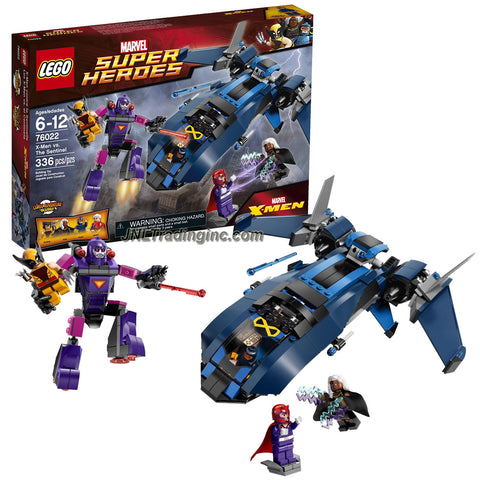 Lego Year 2014 Marvel Super Heroes Battle Scene Set #76022 : X-MEN vs THE SENTINEL with Blackbird Jet Plus Wolverine, Cyclops, Storm and Magneto Figure (Piece: 336)