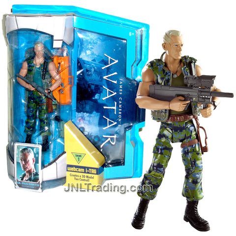 Year 2009 James Cameron's AVATAR Highly Articulated Detailed Movie Replica 6 Inch Tall Figure - COL. MILES QUATRITCH with Sniper Rifle, Rifle, Pistol and Level 1 Webcam i-Tag