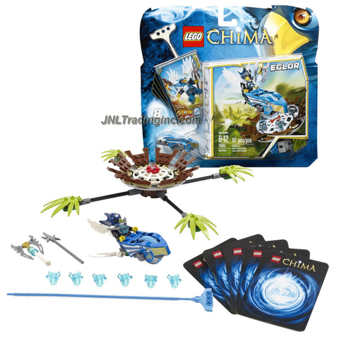 Lego Year 2013 Legends of Chima Series Game Set #70105 - NEST DIVE with Eagle Speedor, Nest with 4 Leaf Ramps, Rip cord, Power-Up, 6 CHI and 5 Game Cards Plus EGLOR Minifigure (Total Pieces: 97)