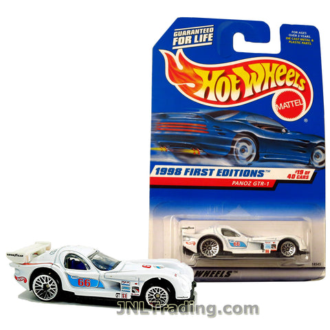 Hot Wheels Year 1998 First Editions Series 1:64 Scale Die Cast Car Set #19 - White Color Race Car PANOZ GTR-1 18545
