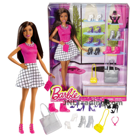 Barbie Year 2016 You Can Be Anything Series 12 Inch Doll Set - NIKKI FCH77 in Pink Tops and White Plaid Skirt with 7 Pairs of Shoes, 2 Necklaces, 2 Purses and Handbag
