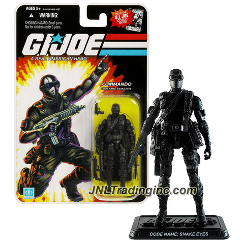 Hasbro Year 2008 G.I. JOE A Real AMerican Hero Comic Series 4 Inch Tall Action Figure - Commando SNAKE EYES with Gun, Submachine Gun, Battle Knife and Display Base
