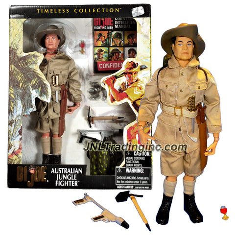 "Hasbro GI JOE Timeless Collection Series 12"" Tall Figure - AUSTRALIAN JUNGLE FIGHTER with Knife, Grenades, Machete , Flame Thrower, Shovel and Medal"