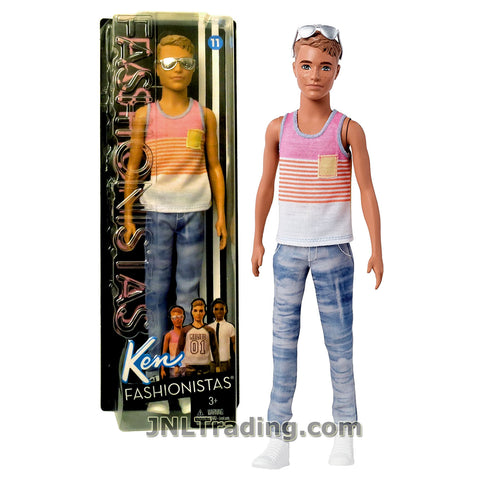 Barbie Year 2016 Ken Fashionistas Series 12 Inch Doll - KEN FNH43 in Hyped on Stripes Pink Tank Top and Blue Denim Pants with Sunglasses