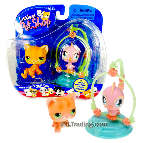 Year 2004 Littlest Pet Shop LPS Pet Pairs Bobble Head Figure - Kitty Cat and Canary Bird on Perch that Magically Swings