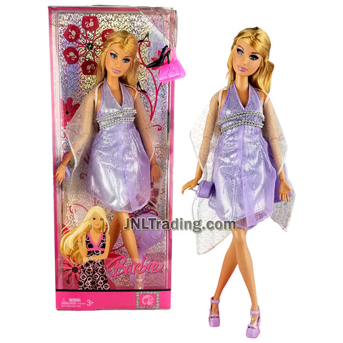 Year 2007 Barbie Fashion Fever Series 12 Inch Doll - SUMMER L9534 in Glittering Lavender Dress with Shawl Wrap, Purse and Hairbrush