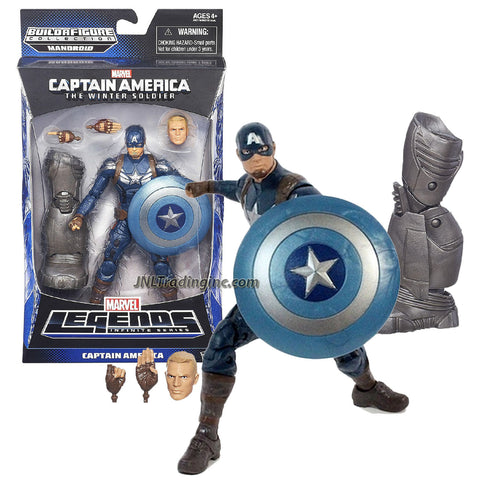 Hasbro Year 2013 Marvel Legends Infinite Series Build a Figure Mandroid 7 Inch Tall Action Figure - CAPTAIN AMERICA with Alternative Head and Pair of Hands, Shield and Mandroid's Left Leg