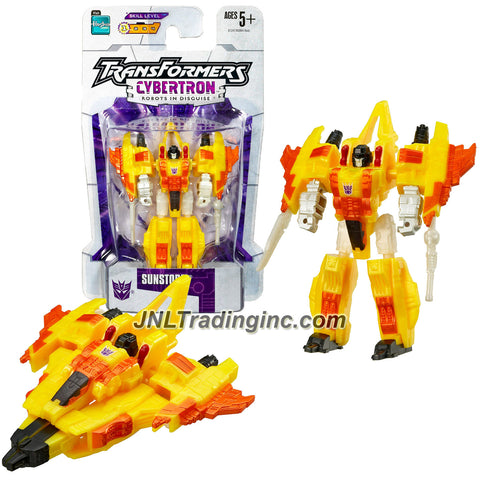 Hasbro Year 2005 Transformers Cybertron Series Legends Class 3 Inch Tall Robot Action Figure - Diabolical Super-Powerful Decepticon Thug SUNSTORM (Vehicle Mode: Cybertronian Jet)