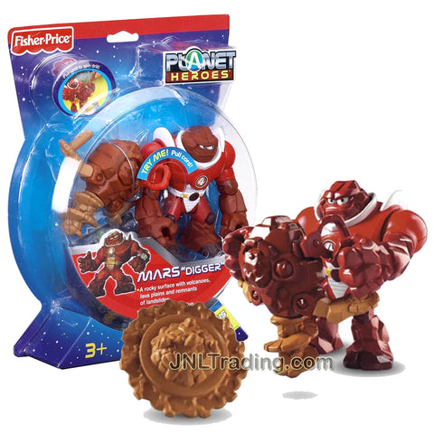 Year 2007 Planet Heroes Basic Series 4-1/2 Inch Tall Figure - MARS DIGGER with Spinning Drill, Battle Shield and Trading Card