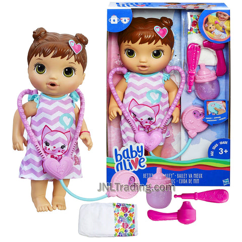 Year 2016 Baby BA Alive Series 12 Inch Doll Set - Better Now Bailey (Hispanic Version) with Stethoscope, Thermometer, Otoscope, Sippy Cup and Diaper