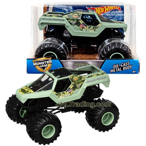 Hot Wheels Year 2017 Monster Jam 1:24 Scale Die Cast Metal Body Official Monster Truck Series - SOLDIER FORTUNE DWN89 with Monster Tires, Working Suspension and 4 Wheel Steering