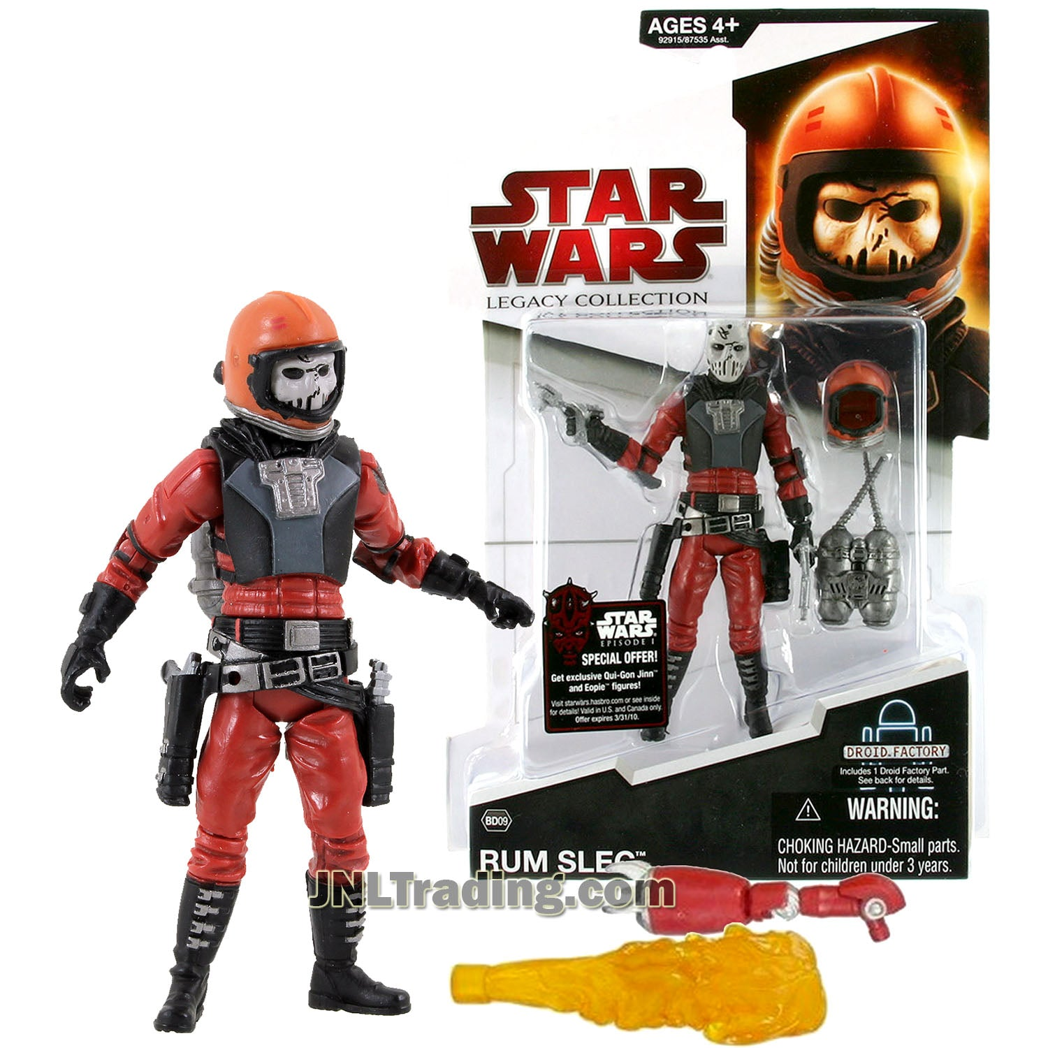 Star Wars Year 2009 Legacy Collection Droid Factory Series 4 Inch Tall Figure - Bounty Hunter Rum Sleg Bd09 With Blasters, Helmet, Jetpack And L9-l9 Droid\'s Right Arm