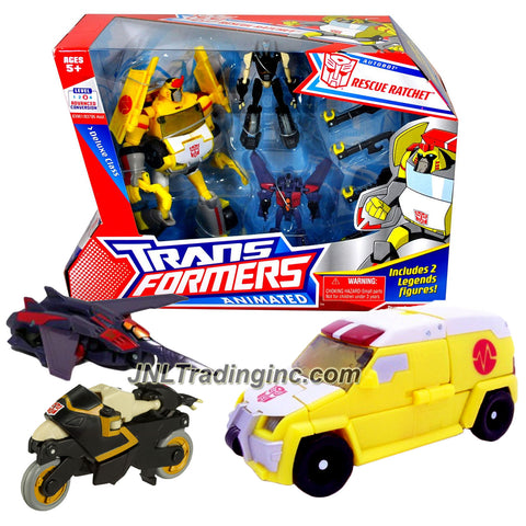 Transformer Year 2008 Animated Series 3 Pack Figure Set - Deluxe Class RESCUE RATCHET with Tools Accessory Plus Legend Class PROWL and STARSCREAM