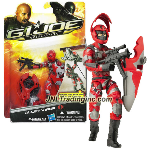 "Hasbro Year 2012 G.I. JOE Movie Series ""Retaliation"" 4 Inch Tall Action Figure - ALLEY VIPER with Working Zip Line, Removable Helmet, Shield and Assault Rifle"