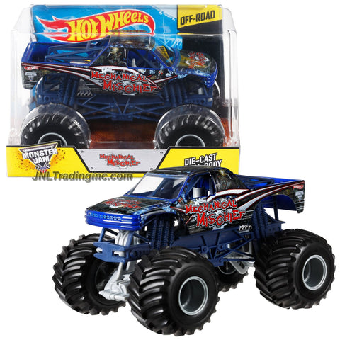 "Hot Wheels Year 2014 Monster Jam 1:24 Scale Die Cast Metal Body Official Monster Truck Series #CCB04 - Jim Burns MECHANICAL MISCHIEF with Monster Tires, Working Suspension and 4 Wheel Steering (Dimension : 7"" L x 5-1/2"" W x 4-1/2"" H)"