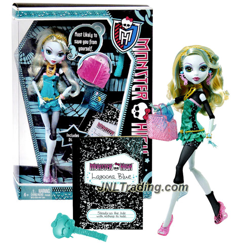 "Mattel Year 2011 Monster High Diary Series 10 Inch Doll - Lagoona Blue ""Daughter of The Sea Monster"" with Purse, Blue Folder, Hairbrush, Diary and Doll Stand (W2822)"