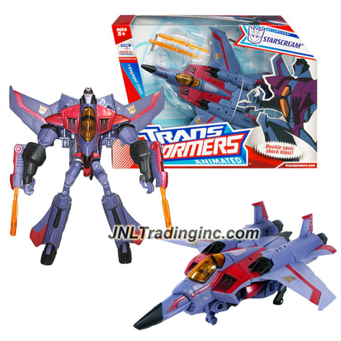Hasbro Year 2008 Transformers Animated Series Voyager Class 7 Inch Tall Robot Action Figure - STARSCREAM with Hidden Arm Lasers and Flip Down Sonic Shock Blasters (Vehicle Mode: Fighter Jet)