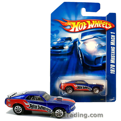 Hot Wheels Year 2007 All Stars Series 1:64 Scale Die Cast Car Set #125 - Blue Color High Performance Coupe 1970 MUSTANG MACH 1 with Revealed Engine J3447