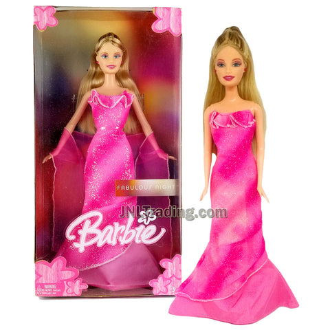 Year 1998 Barbie Fabulous Night Series 12 Inch Doll - BARBIE in Pink Evening Gown with Shawl