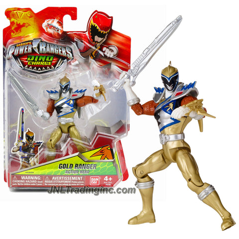 Bandai Year 2015 Saban's Power Rangers Dino Charge Series 5 Inch Tall Action Figure - GOLD RANGER with Saber