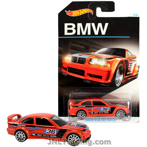 Hot Wheels Year 2015 BMW Series 1:64 Scale Die Cast Car Set 3/8 - Red Color Performance Coupe BMW E36 M3 RACE