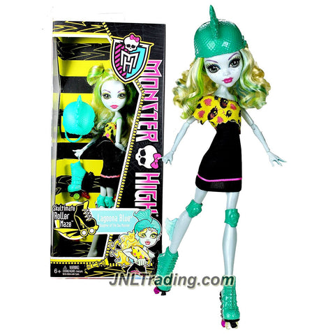 "Mattel Year 2011 Monster High Skultimate Roller Maze Series 10 Inch Doll - Lagoona Blue ""Daughter of the Sea Monster"" with Removable Helmet, Roller Blade and Doll Stand (X3673)"