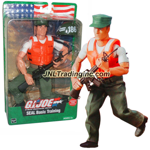 Hasbro Year 2003 GI JOE A Real American Hero Series 12 Inch Tall Action Figure Set - SEAL BASIC TRAINING Soldier with Cap, Helmet, Life Vest, Boots, Assault Rifle, Pants and Belt Plus Mission