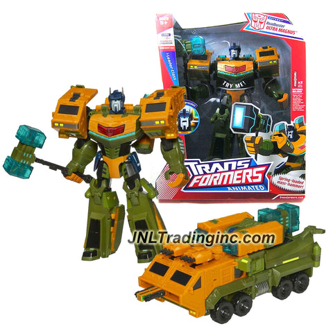 Transformer Year 2008 Animated Series Leader Class 10 Inch Tall Electronic Figure with Lights and Sounds - ROADBUSTER ULTRA MAGNUS with Spring Loaded Hammer (Vehicle Mode: Assault Carrier)