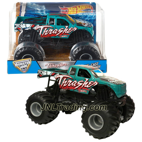 Hot Wheels Year 2016 Monster Jam 1:24 Scale Die Cast Monster Truck - Green THRASHER (DJW84) with Monster Tires, Working Suspension & 4 Wheel Steering