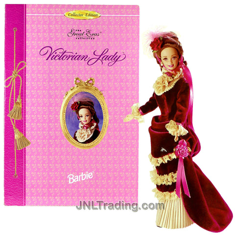 Year 1995 Barbie Collector Edition The Great Eras Collection - Volume Eight Series 12 Inch Doll Set - Victorian Lady with Velvet Gown, Faux Pearl Earrings, Flower Headpiece, Shoes and Doll Stand