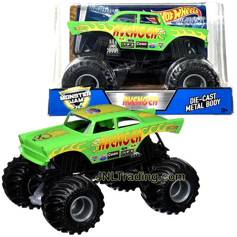 Hot Wheels Year 2017 Monster Jam 1:24 Scale Die Cast Metal Body Official Monster Truck Series - Green AVENGER DWN92 with Monster Tires, Working Suspension and 4 Wheel Steering