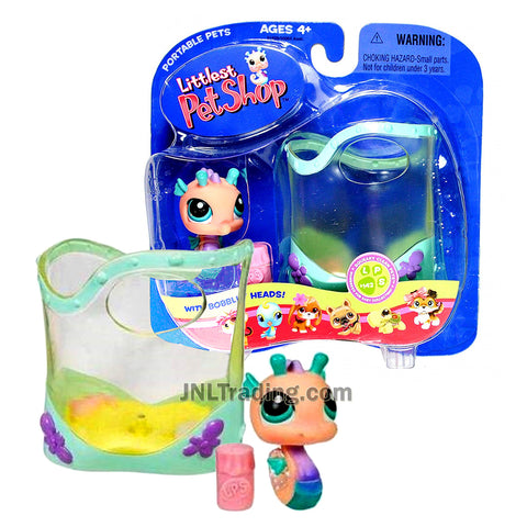 Year 2005 Littlest Pet Shop LPS Portable Pets Squeaky Clean Series Bobble Head Figure - SEAHORSE #142 with Aquarium and Food