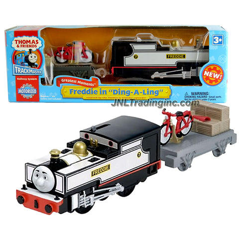"HiT Toy Year 2008 Thomas and Friends Trackmaster Motorized Railway Battery Powered Tank Engine 2 Pack Train Set - FREDDIE in ""Ding-A-Ling"" with Bike, Workbench and Flatbed Wagon"