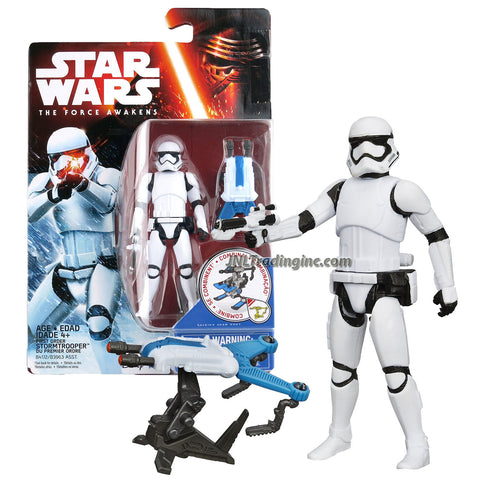 "Hasbro Year 2015 Star Wars The Force Awakens Series 4"" Tall Figure - First Order STORMTROOPER with Blaster Gun Plus Build A Weapon Part #1"