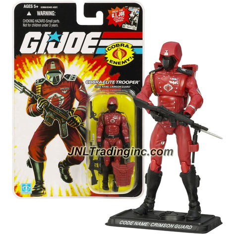 Hasbro Year 2007 G.I. JOE A Real American Hero Comic Series 4 Inch Tall Action Figure - Cobra Elite Trooper CRIMSON GUARD with Revolver Pistol, Assault Rifle with Bayonet, Backpack and Display Base