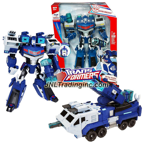 Hasbro Year 2007 Transformers Animated Series Leader Class 10 Inch Tall Electronic Robot Action Figure - Autobot ULTRA MAGNUS with Lights and Sounds Plus Spring Loaded Mass Hammer and Heavy Cannons (Vehicle Mode: Heavy Expanded Mobility Tactical Truck)