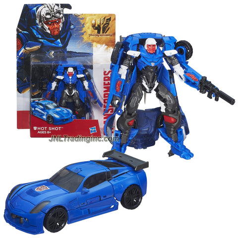 "Hasbro Year 2014 Transformers Movie Series 4 ""Age of Extinction"" Deluxe Class 5-1/2 Inch Tall Robot Action Figure - Autobot HOT SHOT with Missile Launcher and 1 Rifle and 2 Blasters (Vehicle Mode: Corvette)"