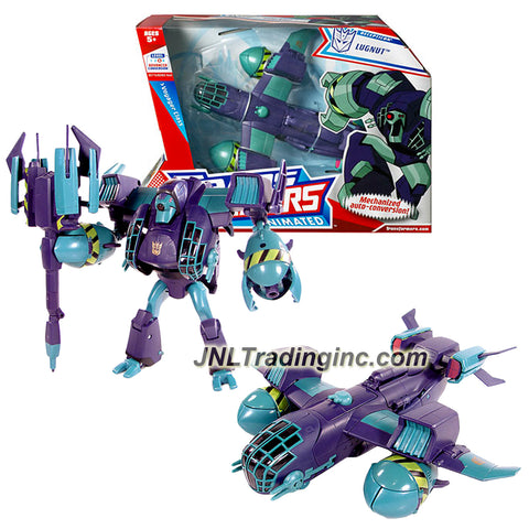 Hasbro Year 2008 Transformers Animated Series Voyager Class 7 Inch Tall Robot Action Figure - Decepticon Thug LUGNUT with Power Mace (Vehicle Mode : Bomber Plane)