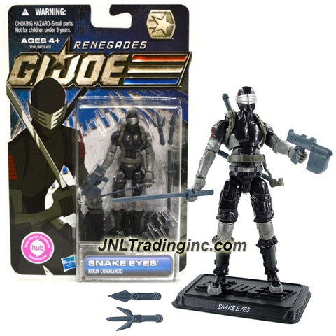 Hasbro Year 2011 G.I. JOE Renegades Series 4 Inch Tall Action Figure - Ninja Commando SNAKE EYES with Plasma Pulse Blaster, Throwing Daggers and Display Base
