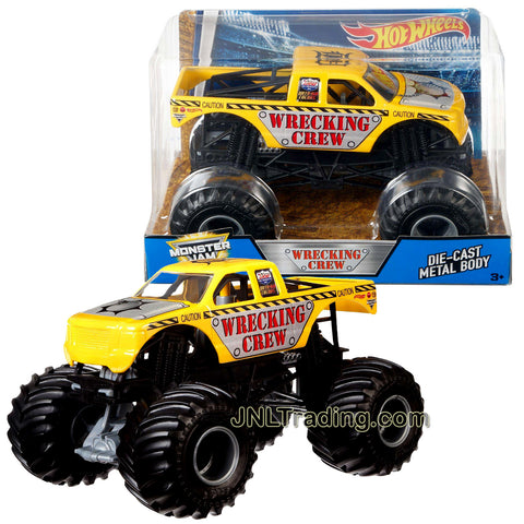 Hot Wheels Year 2016 Monster Jam 1:24 Scale Die Cast Metal Body Official Monster Truck Series : WRECKING CREW BGH26 with Monster Tires, Working Suspension and 4 Wheel Steering
