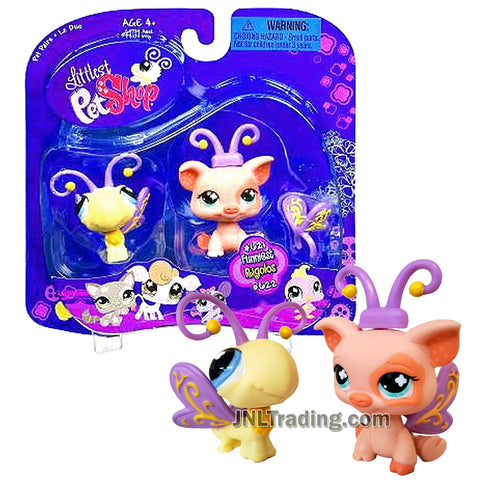 Year 2007 Littlest Pet Shop LPS Pet Pairs Funniest Series Bobble Head Figure - Butterfly (#621) and Pig (#622) with Detachable Wing and Antenna