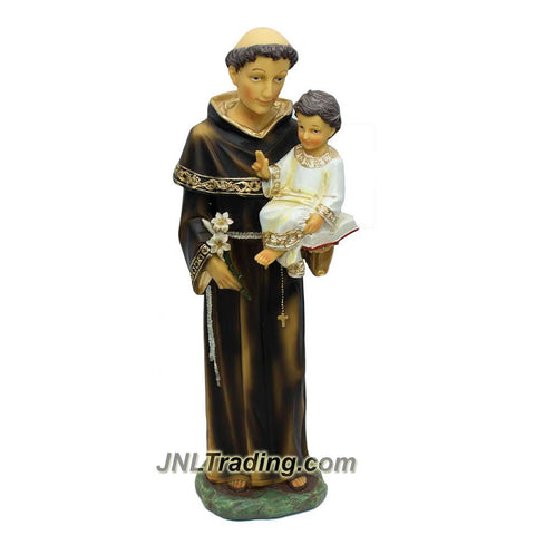 "Giovanni Religious Home Decor Catholic Saints Series 16"" Tall Figurine - Patron Saint of Lost Item ST ANTHONY with CHILD JESUS & Lily Flower (D18205)"