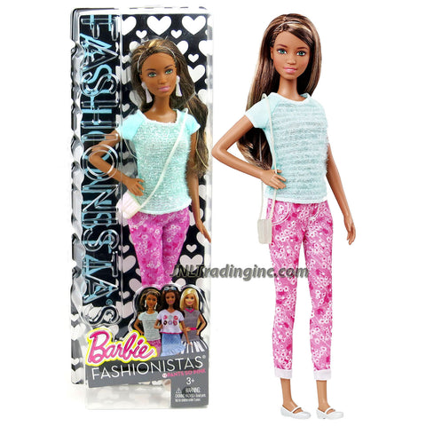 Mattel Year 2014 Barbie Fashionistas Series 12 Inch Doll Set - #12 Pants So Pink NIKKI (CLN65) in Blue Tops and Pink Denim Pants with Earrings and Purse