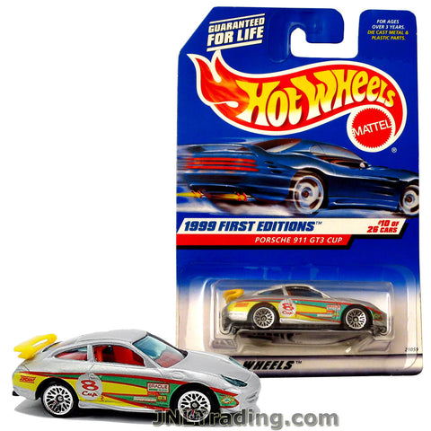 Hot Wheels Year 1999 First Editions Series 1:64 Scale Die Cast Car Set #10 - Silver Color Sports Coupe PORSCHE 911 GT3 CUP with Yellow Spoiler 21059