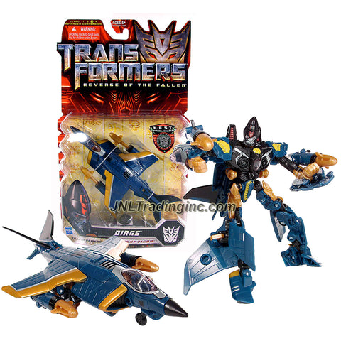 "Hasbro Year 2009 Transformers Movie Series 2 ""Revenge of the Fallen"" Deluxe Class 6 Inch Tall Robot Action Figure - Decepticon DIRGE with 2 Launching Missiles (Vehicle Mode: Fighter Jet)"