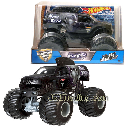 Hot Wheels Year 2017 Monster Jam 1:24 Scale Die Cast Metal Body Official Monster Truck Series - MOHAWK WARRIOR CBY62 with Monster Tires, Working Suspension and 4 Wheel Steering