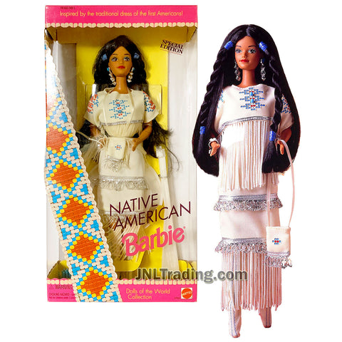 Year 1992 Barbie Special Edition Dolls of the World Collection Series 12 Inch Doll - NATIVE AMERICAN Barbie with Traditional Outfits, Jewelry, Purse, Moccasins and Doll Stand