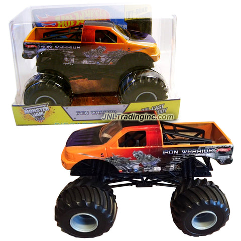"Hot Wheels Year 2014 Monster Jam 1:24 Scale Die Cast Official Monster Truck - IRON WARRIOR (BGH44) with Monster Tires, Working Suspension and 4 Wheel Steering (Dimension - 7"" L x 5-1/2"" W x 4-1/2"" H)"